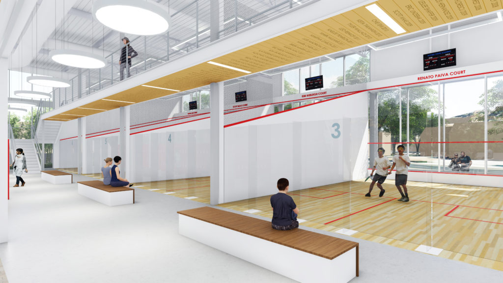Rendering of new squash courts at Access Youth Academy's planned facility