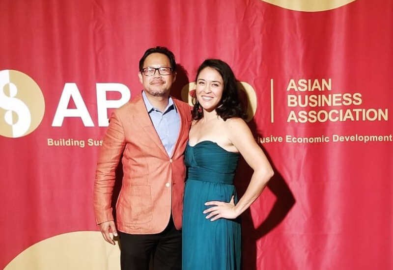 Louie Nguyen & Lauren Grattan mingling with some Crazy Rich Asians at the Asian Business Association gala