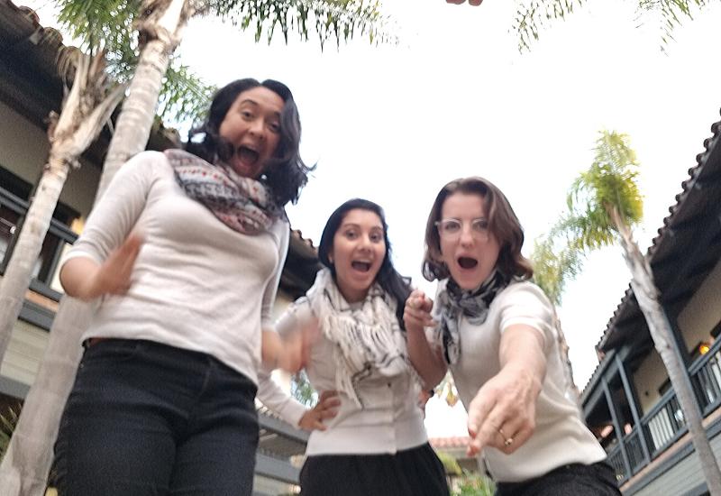Lauren, Shreya & Heather in matching outfits