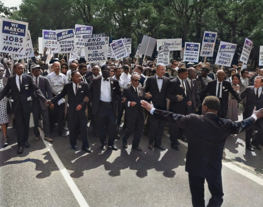 Dr. Martin Luther King, Jr. marches for freedom