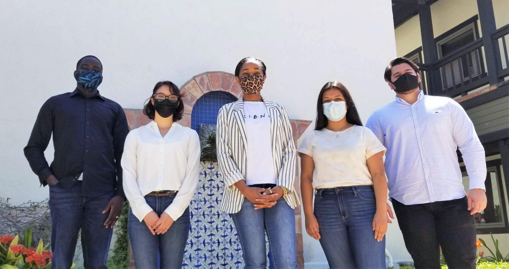 The 2020 cohort of Community Finance Fellows: Benson Ochira, Essence Rodriguez, Louise Jordan, Crystal Sevilla, Andrew Moncada