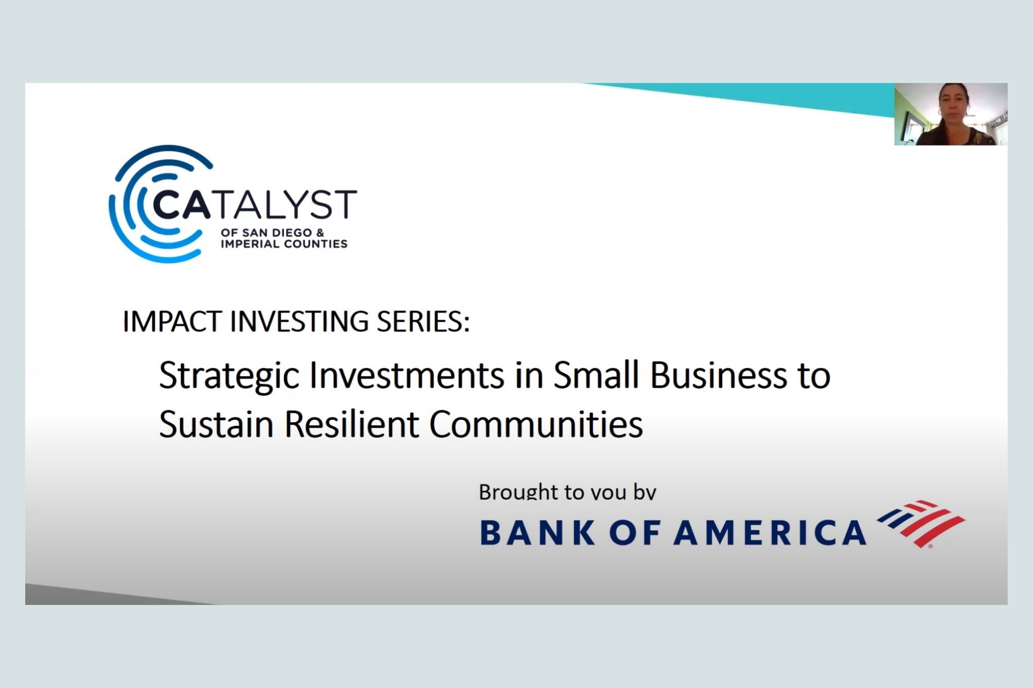 Catalyst of San Diego & Imperial Counties' Impact Investing Series: Strategic Investments in Small Business to Sustain Resilient Communities