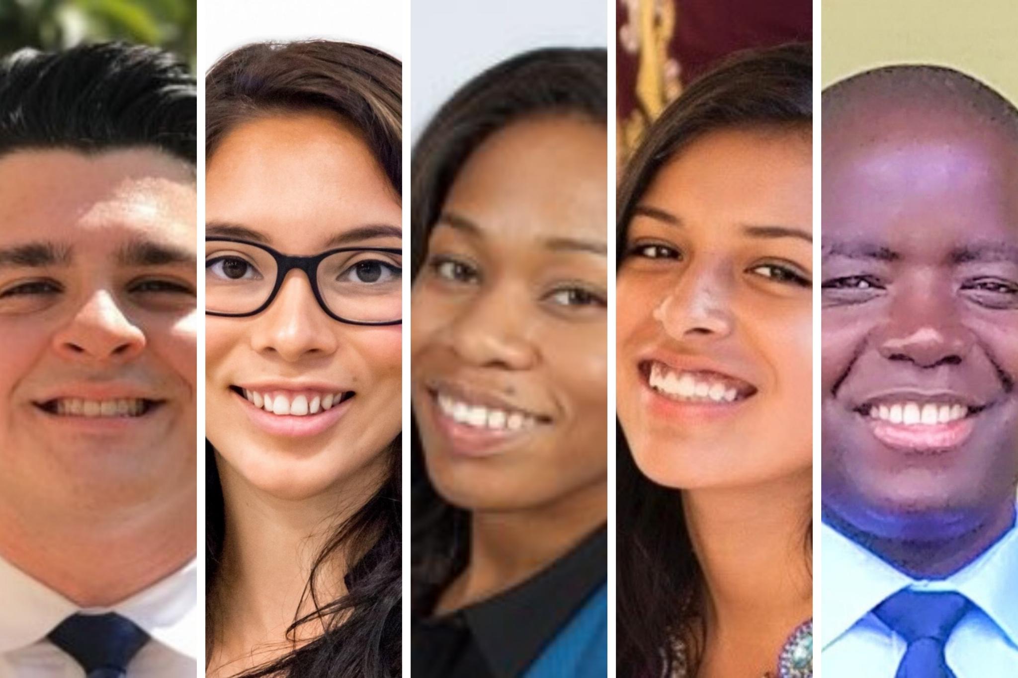 2020 cohort of Community Finance Fellows: Andrew Moncada, Essence Rodriguez, Louise Jordan, Crystal Sevilla, Benson Ochira